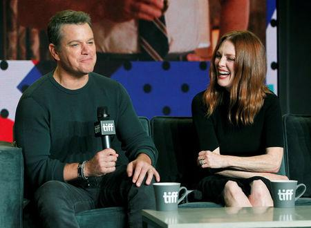 """Actors Julianne Moore and Matt Damon attend a news conference to promote the film """"Suburbicon"""" at the Toronto International Film Festival (TIFF) in Toronto, Canada, September 10, 2017.    REUTERS/Fred Thornhill"""