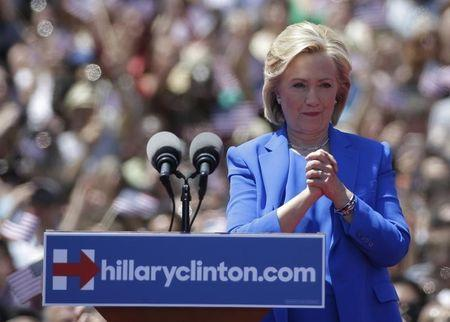"""U.S. Democratic presidential candidate Hillary Clinton delivers her """"official launch speech"""" at a campaign kick off rally in Franklin D. Roosevelt Four Freedoms Park on Roosevelt Island in New York City"""