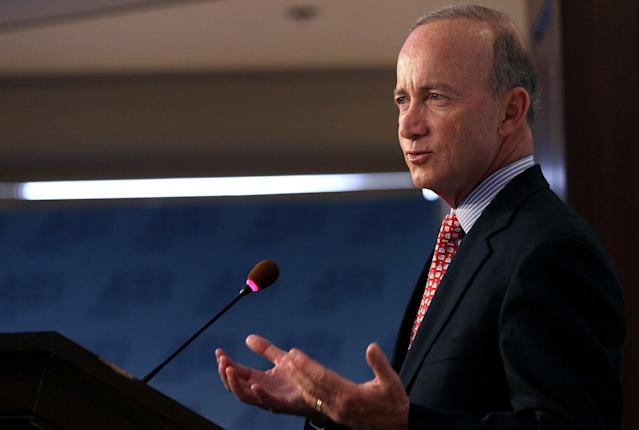 """Former Indiana Gov. Mitch Daniels, who pushed for the choice program at the start, said choosing a private school is """"not just about SAT scores."""" (Mark Wilson/Getty Images)"""