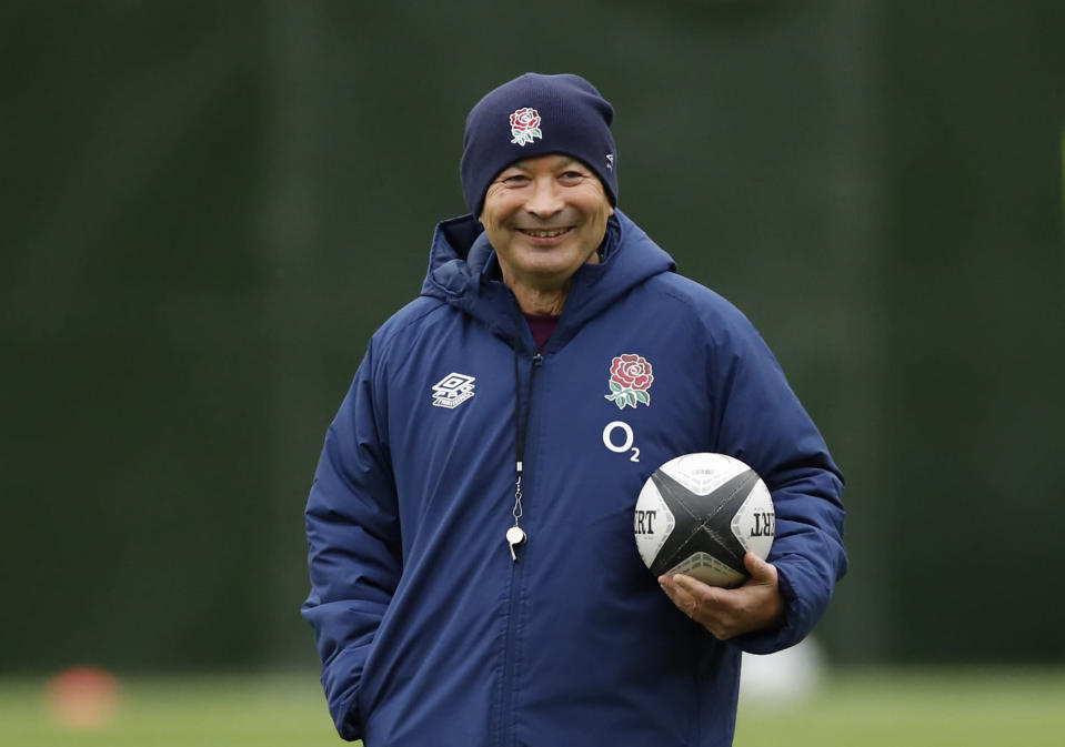 England's head coach Eddie Jones watches his players during an England rugby union team training session at Twickenham Stadium in London, Friday, Oct. 16, 2020. England will play a series of matches over the autumn starting with the game against the Barbarians on Oct. 25. (Andrew Boyers /Pool via AP)