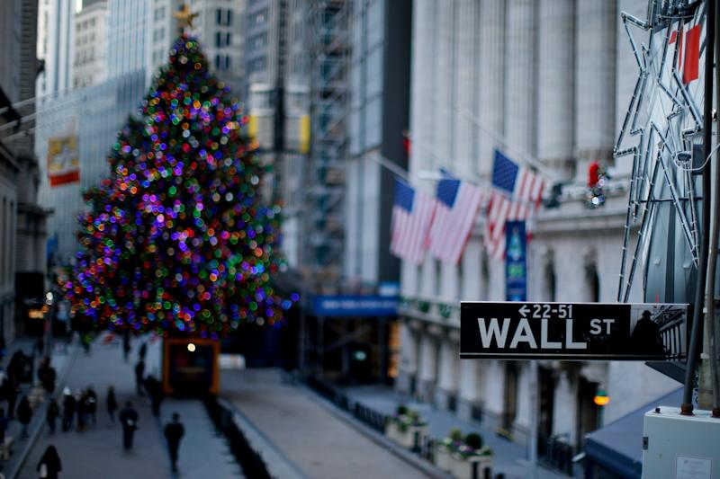 A street sign is seen near the New York Stock Exchange (NYSE) in New York, U.S.,December 27, 2018. REUTERS/Eduardo Munoz