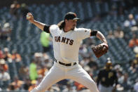 San Francisco Giants starting pitcher Jeff Samardzija works in the first inning of a baseball game against the Pittsburgh Pirates, Thursday, Sept. 12, 2019, in San Francisco. (AP Photo/Eric Risberg)