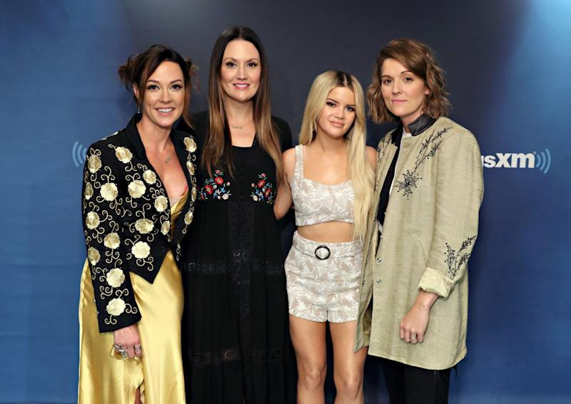 The Highwomen — from left, Amanda Shires, Natalie Hemby, Maren Morris and Brandi Carlile — visit the SiriusXM Studios on July 31 in New York City. (Photo: Cindy Ord/Getty Images)