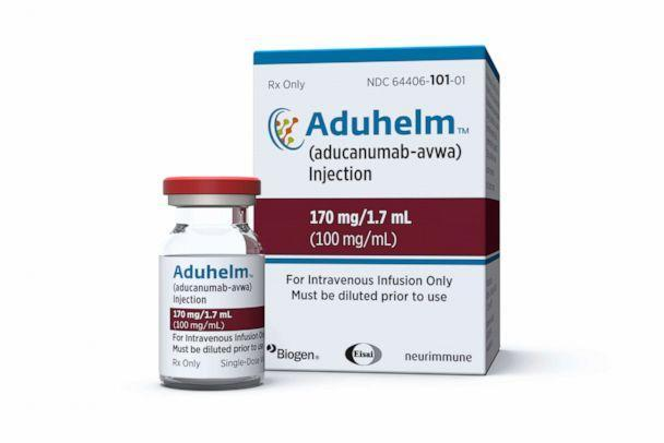 PHOTO: This image provided by Biogen on Monday, June 7, 2021, shows a vial and packaging for the Alzheimer's drug Aduhelm. (Biogen via AP)