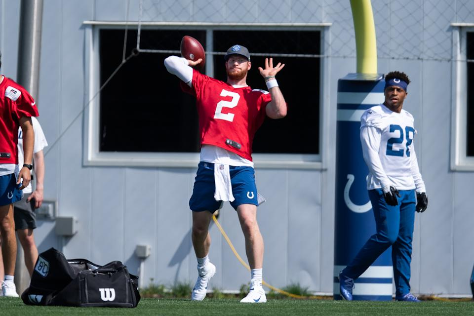 Indianapolis Colts quarterback Carson Wentz (2) is looking to rebound from a bad season. (Photo by Zach Bolinger/Icon Sportswire via Getty Images)