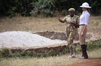 A colonial-era hat caused controversy during Melania's Africa trip. Photographed wearing the white pith helmet during a safari in Nairobi National Park, the First Lady was quickly called out for the bad taste sartorial choice. The accessory was favoured by British officers in Africa in the late 19th century and has since become a symbol of colonial rule and oppression. [Photo: Getty]