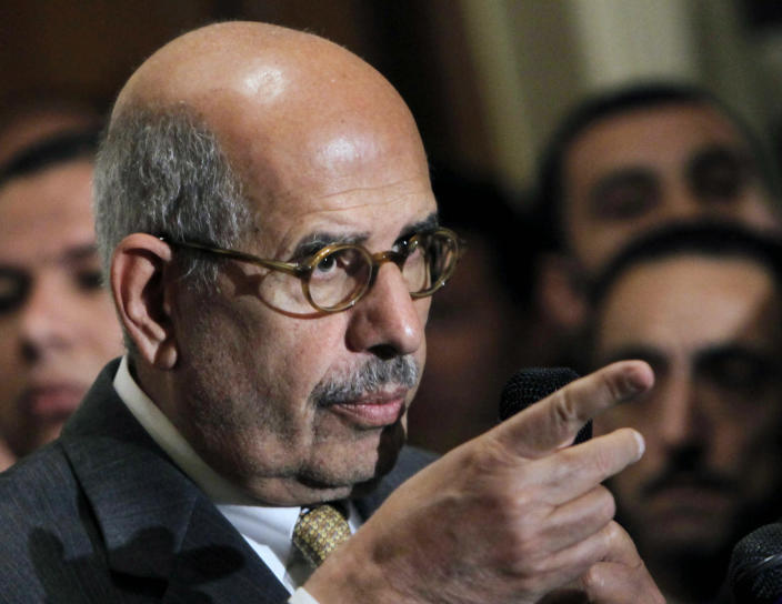 """FILE - In this Monday, Jan. 28, 2013 file photo, former director of the U.N.'s nuclear agency and Nobel peace laureate Mohamed ElBaradei speaks during a news conference following the meeting of the National Salvation Front, Egypt's main opposition coalition, in Cairo. Newly called parliamentary elections hold out little hope for plucking the country out of the turmoil and if anything, are likely to just fuel unrest and push it toward economic collapse. The call for the elections triggered a sharp reaction from the country's reform leader, ElBaradei, who said they would be a """"recipe for disaster"""" given the polarization and the eroding state authority. On Saturday, he dropped a bombshell, calling for a boycott of the vote. (AP Photo/Amr Nabil, File)"""
