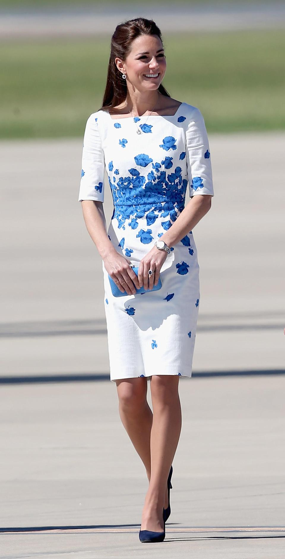 <p>The Duke and Duchess brought Prince George on a three-week tour of Australia and New Zealand back in 2014. And for the occasion, Kate donned a floral dress by LK Bennett. The 'Lasa' dress sold out within hours. <em>[Photo: Getty]</em> </p>