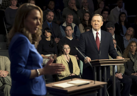 """<p>This masterful Season 3 installment saw the Underwoods both tightening their grip on power, and losing their grip on reality. Frank enlisted Jackie Sharp to attack rival Heather Dunbar during the Democratic debate to make Frank look better — but then he turned around and stabbed Jackie in the back, labeling her a hypocrite for criticizing Heather. (You can't really blame Frank, though; like Freddie the rib chef said, """"It's like blaming a snake for having fangs."""") Plus, we got a rare glimpse of vulnerability from Claire in her woozy, cryptic monologue to writer Thomas Yates while giving blood, confessing her very mixed feelings about her marriage. — <i>DN</i><br /></p><p><i>(Credit: Netflix)</i></p>"""