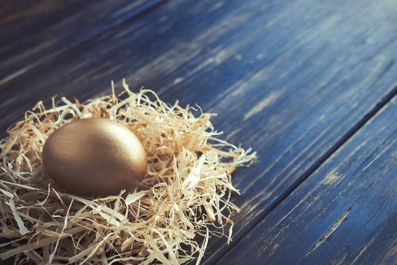 A golden egg in a nest that's resting on a piece of wood.