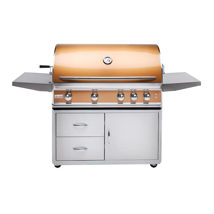 Mother Nature can be brutal on an outdoor kitchen. But for those whose barbecues have taken a bruising, Blaze has you covered. The brand's assortment of Grill Skins update timeworn appliances (either the Premium LTE or the Professional LUX model) with new stainless-steel shells. Available in rose gold (shown) or black, these clever fixes give every summer a fresh start. blazegrills.com