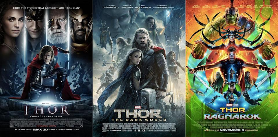 Spot the difference… The posters for 'Thor', 'Thor: The Dark World', and 'Thor: Ragnarok' speak volumes (Disney/Marvel Studios)