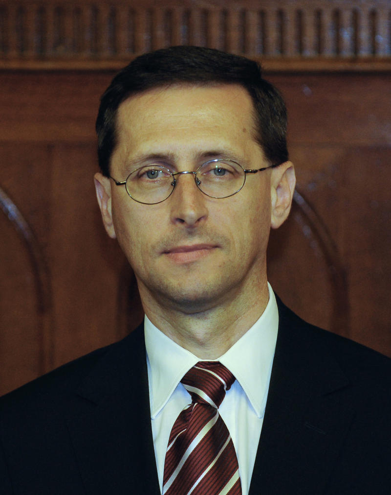 Mihaly Varga, then the state secretary of the cabinet, attends a press conference in Budapest, on May 3, 2010