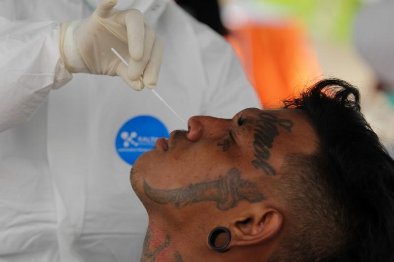 A healthcare worker takes a swab sample to test a person for coronavirus disease (COVID-19)