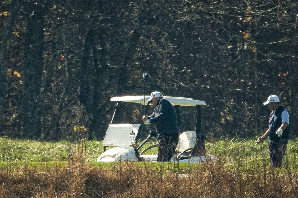 STERLING, VA - NOVEMBER 07: U.S. President Donald Trump golfs at Trump National Golf Club, on November 7, 2020 in Sterling, Virginia. News outlets projected that Democratic nominee Joe Biden will be the 46th president of the United States after a victory in Pennsylvania. (Photo by Al Drago/Getty Images)