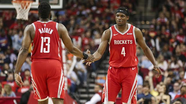 The Rockets made NBA history Sunday night by making an NBA-record 27 3-pointers in a win over the Suns.