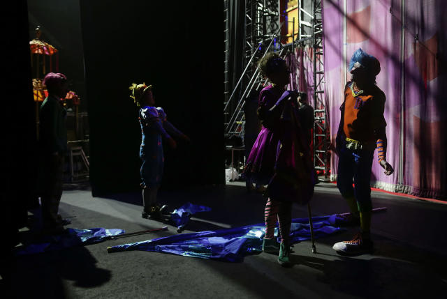 """<p>Clowns with the Ringling Bros. circus red unit wait backstage for the start of the show, Friday, May 5, 2017, in Providence, R.I. """"The Greatest Show on Earth"""" is about to put on its last show on earth. For the performers who travel with the Ringling Bros. and Barnum & Bailey Circus, its demise means the end of a unique way of life for hundreds of performers and crew members. (Photo: Julie Jacobson/AP) </p>"""