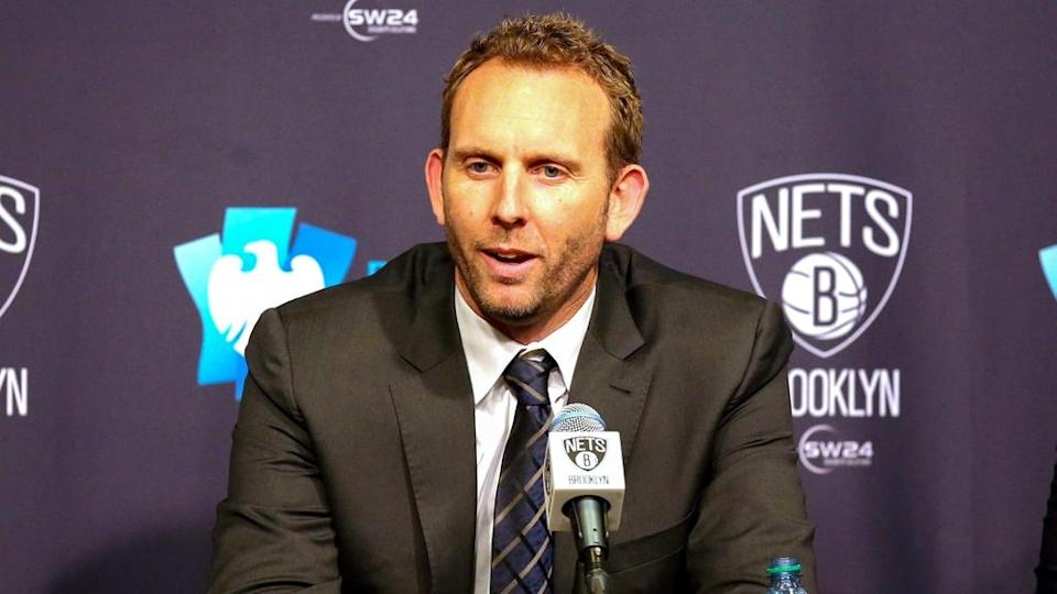 Sean Marks during Nets press conference