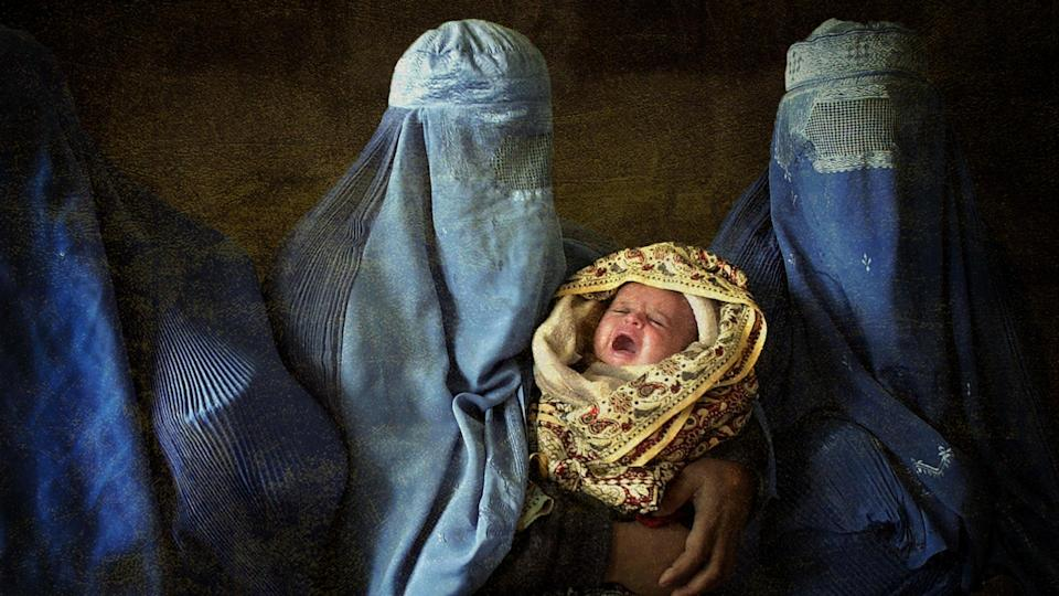 Afghan women in burkas, with baby. Photo collage illustration from photographs courtesy Getty Images