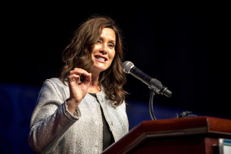 Michigan Gov. Gretchen Whitmer speaks during the Detroit Branch NAACP's 66th Annual Fight For Freedom Fund Dinner at TCF Center in Detroit on Oct. 3, 2021. (Nic Antaya/Detroit News via AP)