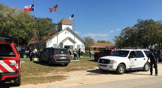 <p>Emergency personnel respond to a fatal shooting at a Baptist church in Sutherland Springs, Texas, Nov. 5, 2017. (Max Massey/ KSAT 12/KSAT via AP) </p>