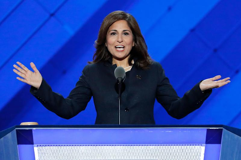 Neera Tanden, president of the Center for American Progress Action Fund, speaks during the third day of the Democratic National Convention in Philadelphia , Wednesday, July 27, 2016. (AP Photo/J. Scott Applewhite)