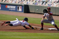 Atlanta Braves' Ronald Acuna Jr., left, dives back to first base as Cincinnati Reds first baseman Joey Votto reaches for the pick-off throw during the first inning in Game 2 of a National League wild-card baseball series, Thursday, Oct. 1, 2020, in Atlanta. (AP Photo/John Bazemore)