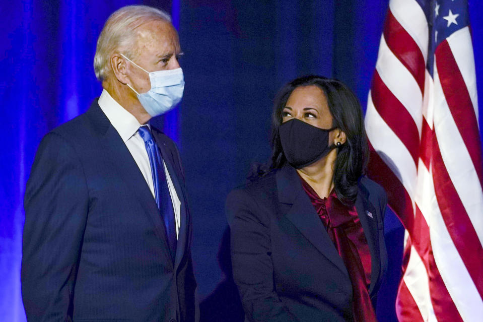 FILE - In this Nov. 6, 2020, file photo then-Democratic presidential candidate former Vice President Joe Biden arrives with his running mate Sen. Kamala Harris, D-Calif., to speak in Wilmington, Del. President-elect Biden turns 78 on Friday, Nov. 20. (AP Photo/Carolyn Kaster, File)