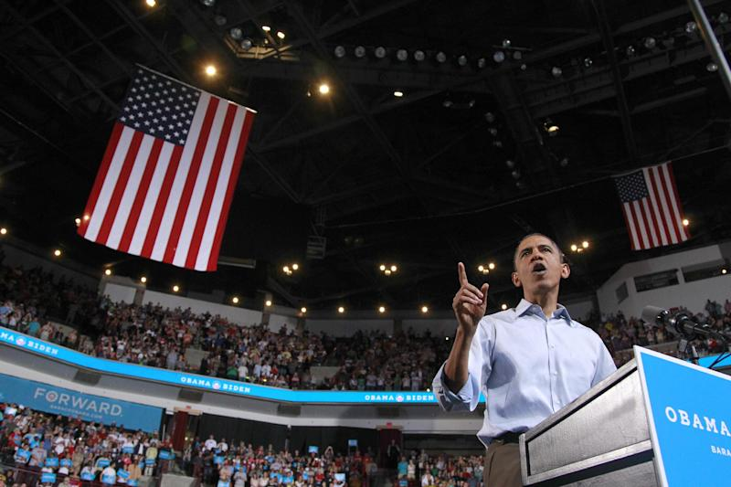 President Barack Obama speaks during a campaign rally at The Ohio State University, Saturday, May 5, 2012 in Columbus, Ohio . (AP Photo/Haraz N. Ghanbari)