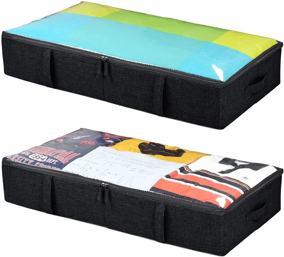 <p>Make use of the space under your bed with the <span>StorageLAB Underbed Storage Fabric Containers </span> ($30 for two). They're great for storing clothes and items that are not currently in use or for storing shoes. </p>