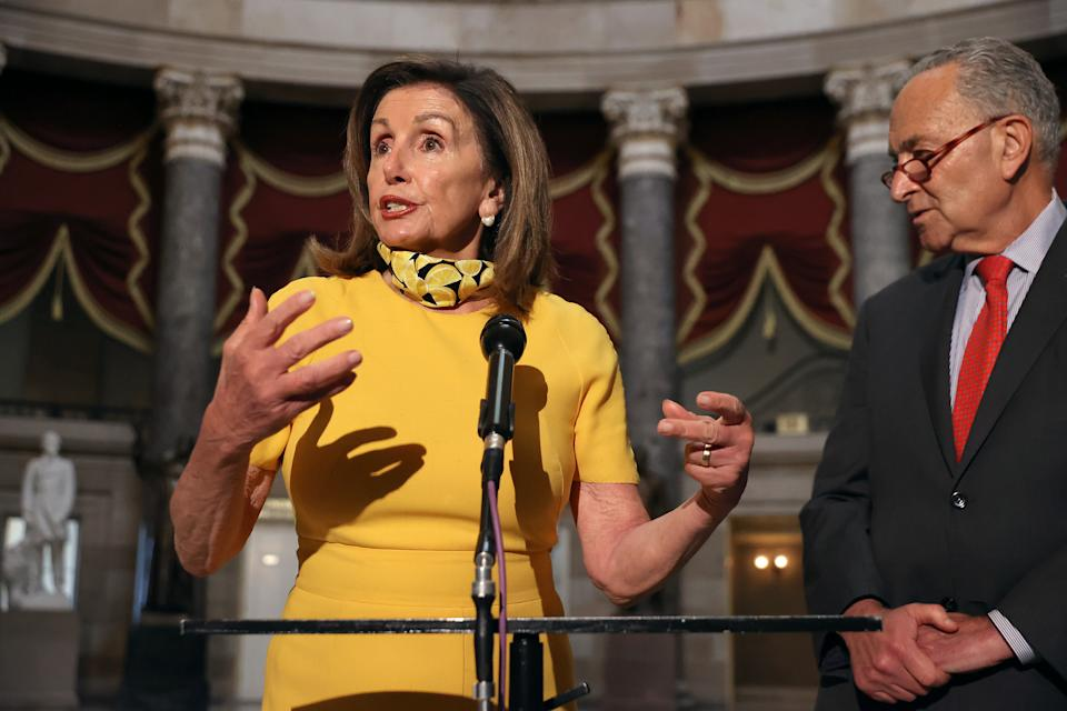 Speaker of the House Nancy Pelosi (D-CA) and Senate Minority Leader Charles Schumer (D-NY) talk with reporters in Statuary Hall in the U.S. Capitol August 03, 2020 in Washington, DC. (Photo by Chip Somodevilla/Getty Images)