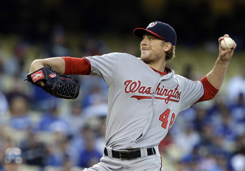 Washington Nationals starter Ross Detwiler pitches to the Los Angeles Dodgers in the first inning of a baseball game in Los Angeles on Wednesday, May 15, 2013. (AP Photo/Reed Saxon)