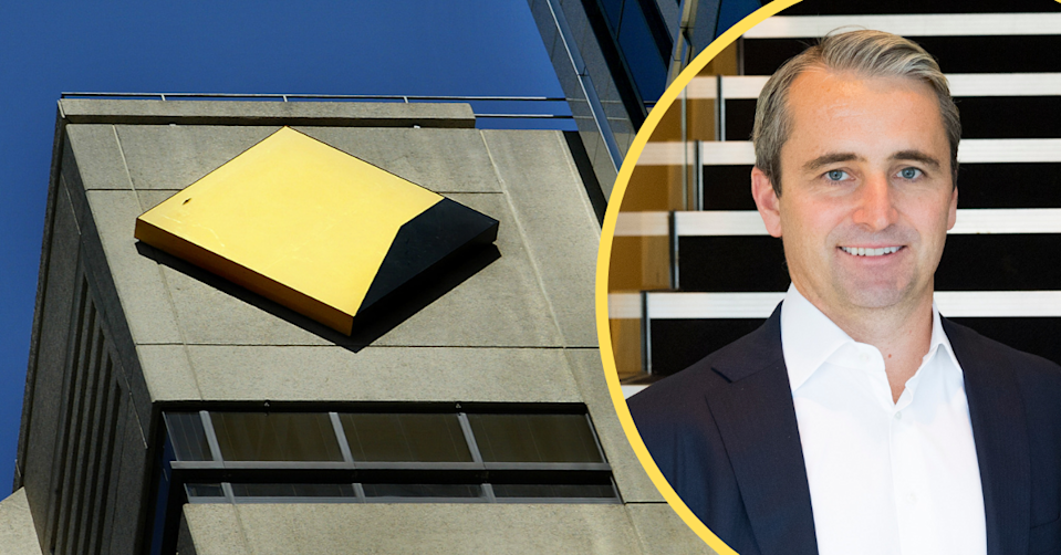 Commonwealth Bank logo on the top of a building and CBA CEO Matt Comyn on the right.