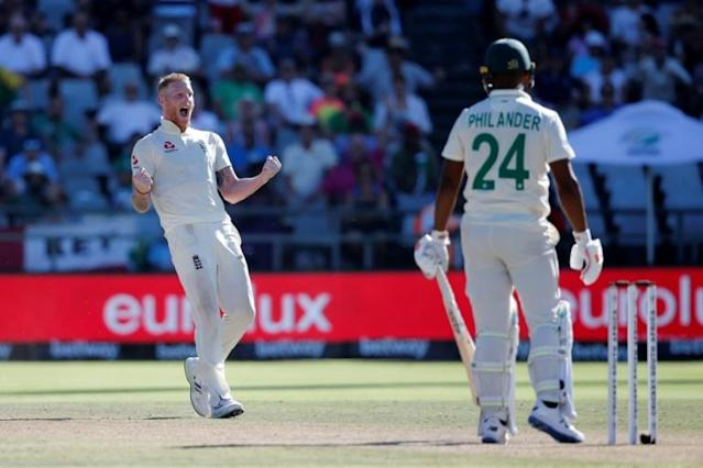 Rival captains Faf du Plessis and Joe Root were united in their praise of World Player of the Year Ben Stokes ahead of the third Test between South Africa and England starting at St George's Park (AFP Photo/MARCO LONGARI)