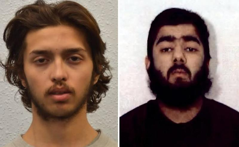 Suddesh Amman, left, and Usman Khan, right, were both wearing fake suicide vests when carrying out their attacks in Streatham and on London Bridge respectively. (PA/Met Police)