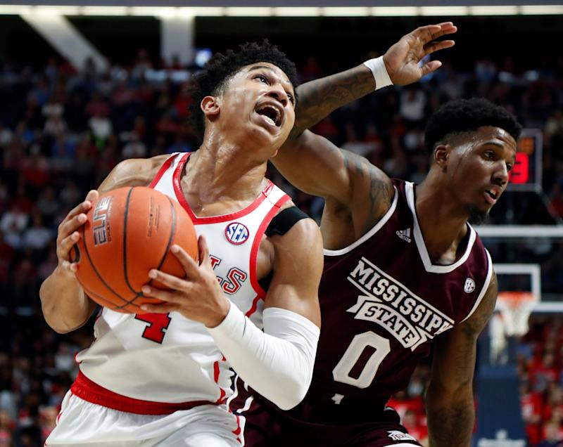 b9479a260847 Mississippi guard Breein Tyree (4) pushes past Mississippi State guard Nick  Weatherspoon (0