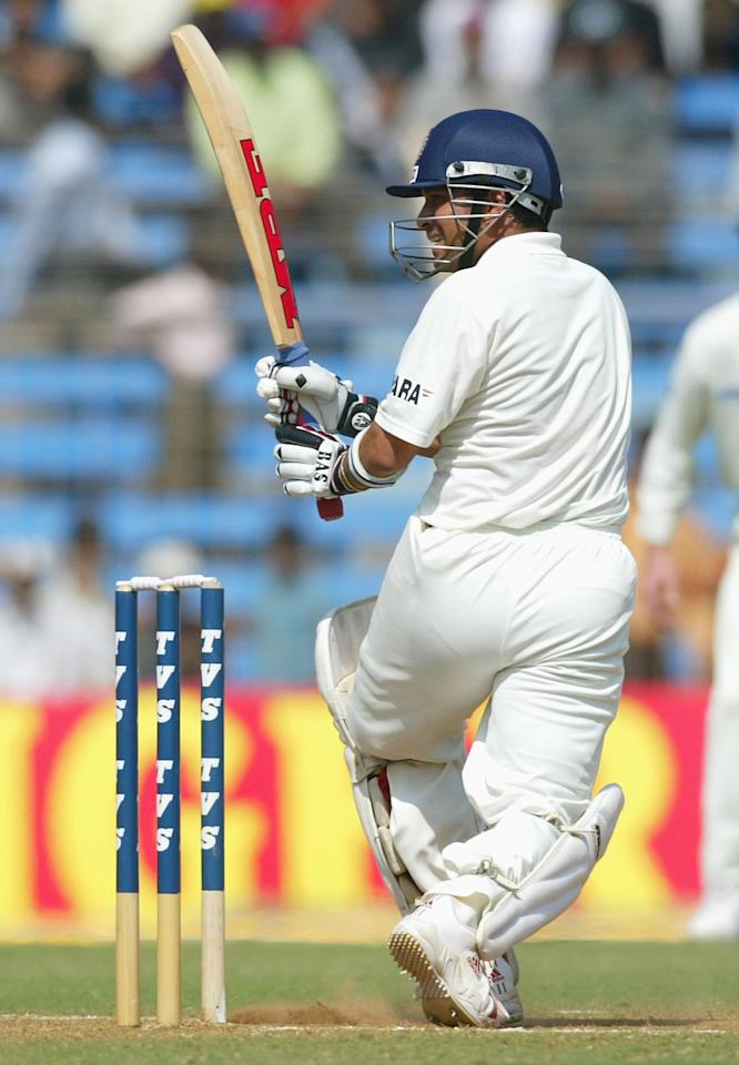 MUMBAI, INDIA - NOVEMBER 5:  Sachin Tendullkar of India in action during day three of the Fourth Test between India and Australia at Wankhede Stadium on November 5, 2004 in Mumbai, India.  (Photo by Hamish Blair/Getty Images)
