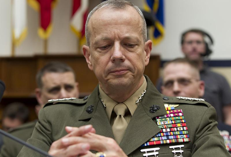 Marine Gen. John Allen, the top U.S. commander in Afghanistan testifies on Capitol Hill in Washington, Tuesday, March 20, 2012, before the House Armed Services Committee hearing on Afghanistan. (AP Photo/J. Scott Applewhite)