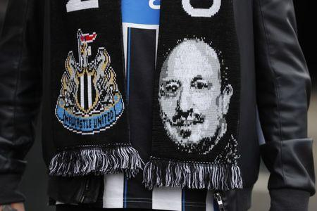 Britain Soccer Football - Newcastle United v Barnsley - Sky Bet Championship - St James' Park - 7/5/17 Newcastle fan with a scarf featuring manager Rafael Benitez before the match  Mandatory Credit: Action Images / Lee Smith Livepic