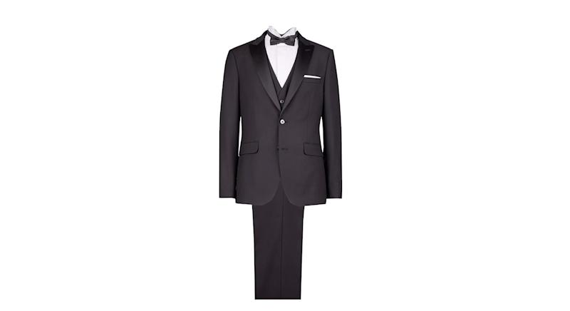 Two Piece Black Stretch Slim Fit Tuxedo Suit