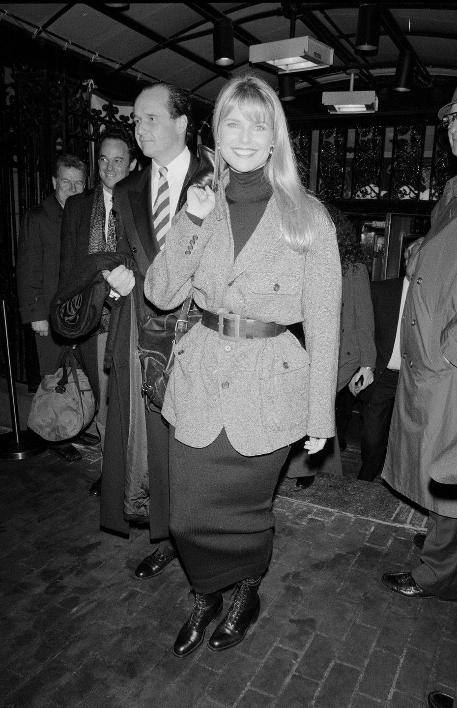 <p>With the '90s came the rise of grunge culture, and combat boots were a common sight on the red carpet—as seen here on model Christie Brinkley, who wore a pair to the grand opening of the Sony Plaza in New York City.</p>