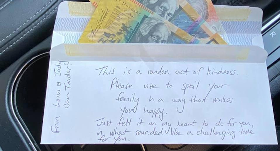 This kind letter was left in the car for Jen Willis. Source: Facebook