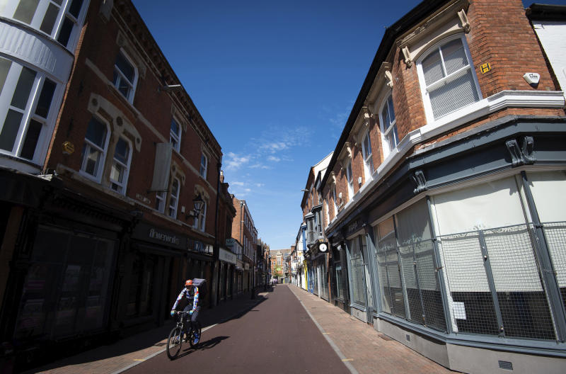 FILE - In this file photo dated April 17, 2020, showing empty streets in Leicester to help curb the spread of the coronavirus. The English city of Leicester is reported Sunday June 28, 2020, to be suffering from a spike in coronavirus cases, leading to speculation that the city could be subject to Britain's first local COVID-19 lockdown later this week. (Joe Giddens/PA via AP)