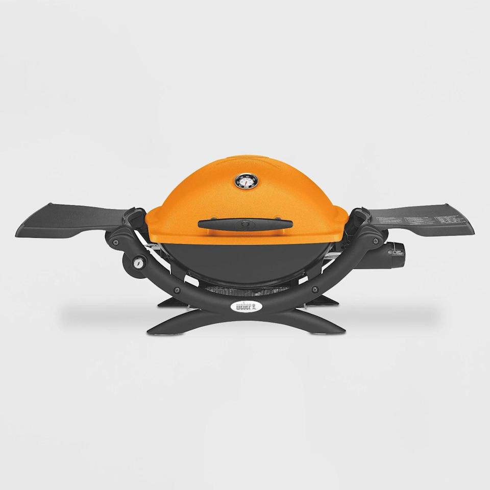 <p>The <span>Weber Q 1200 LP Propane Gas Grill</span> ($219) comes in a variety of bold colors. It has porcelain-enameled cast-iron cooking grates, built-in lid thermometer, removable catch pan, and folding side tables.</p>