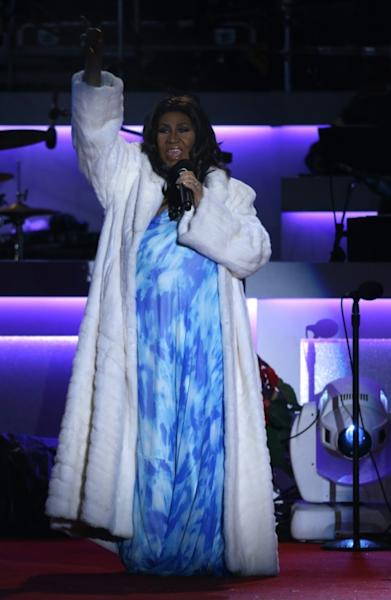 Soul singer Aretha Franklin performs during the National Christmas Tree lighting in Washington in 2013