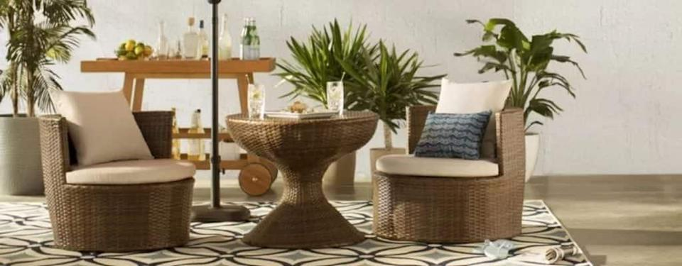Wade Logan Lisette 3 Piece Rattan Seating Group with Cushions