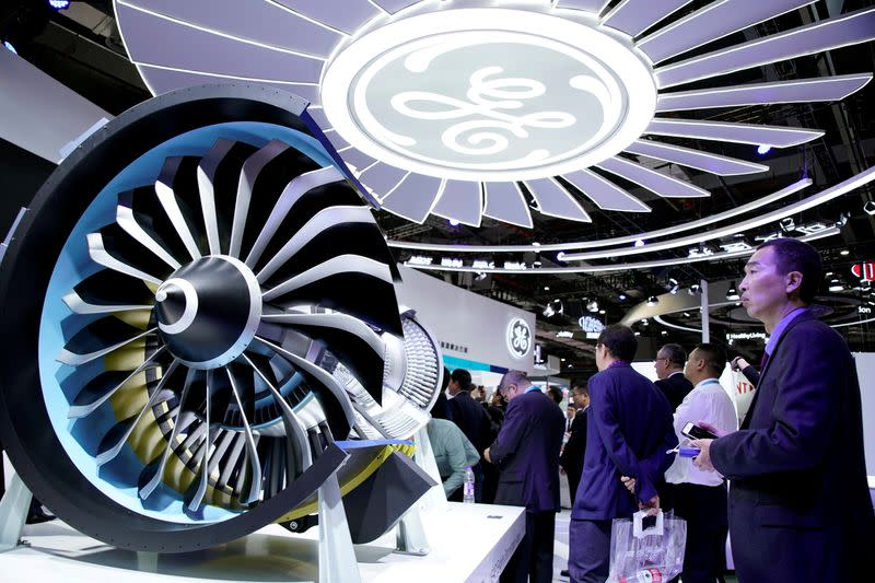 FILE PHOTO: A General Electric (GE) sign is seen at the second China International Import Expo (CIIE) in Shanghai