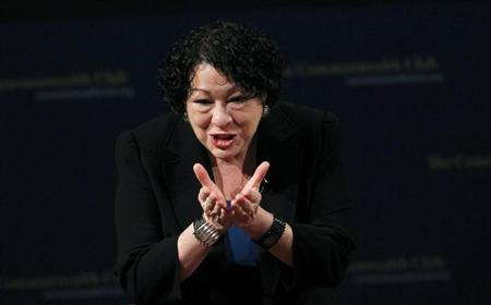 U.S. Supreme Court justice Sonia Sotomayor gestures to the audience after speaking at The Commonwealth Club of California in San Francisco, California January 28, 2013. REUTERS/Robert Galbraith