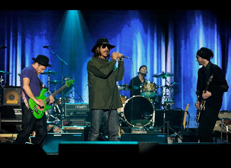 LOS ANGELES, CA: The Red Hot Chili Peppers perform onstage at the 2010 MusiCares Person Of The Year Tribute To Neil Young at the Los Angeles Convention Center on January 29, 2010 in Los Angeles, California. (Photo by Larry Busacca/Getty Images for NARAS)