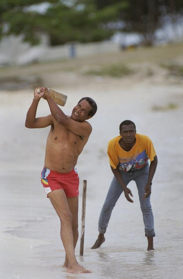 Apr 1990:  Sir Garfield Sobers of the West Indies in action on the beach in Barbados. \ Mandatory Credit: Adrian  Murrell/Allsport